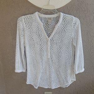 Cute Lucky Brand crochet cover up shirt